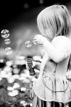 bubbles *-* children are fascinated by bubbles.  My twin granddaughters try to catch them....I think their father did too!