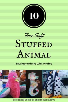 10 free soft stuffed animal sewing patterns with photos  The owls, deer, and Fox, oh my goodness cute!!