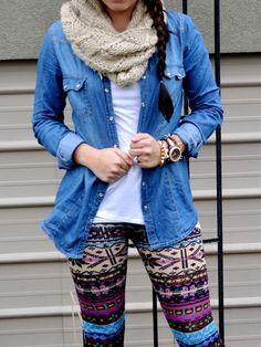 Printed leggings & Chambray