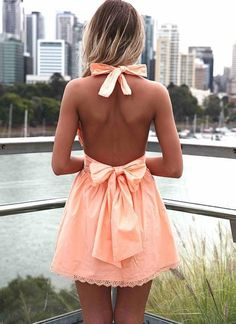 Light Orange Halter Dress with Open Back Bow,Short Prom Dress,Sexy Homecoming