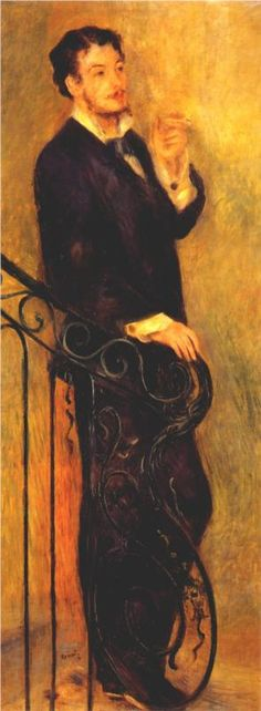 """""""Man on a Staircase"""" 1876 by French painter  Pierre-Auguste Renoir.    .He was born in Limoges, Haute-Vienne, France, the child of a working class family. Around 1892, Renoir developed rheumatoid arthritis. In the advanced stages of his arthritis, he painted by having a brush strapped to his paralyzed fingers."""
