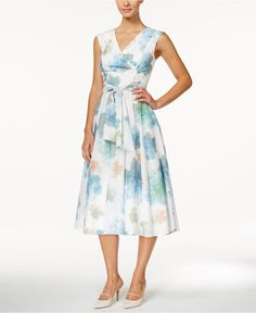 Calvin Klein Sleeveless Floral-Print Midi Dress - Dresses - Women - Macy's