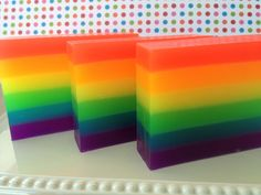 Rainbow Soap - Glycerin Soap - Soap for Kids - Rainbow Gift - Handmade Soap - Gift Soap - Pride Month - Pride Gift - Rainbow Party Favor Diy Savon, Savon Soap, Jojo Siwa, Glycerin Soap Base, Soap Melt And Pour, Soap Colorants, Party Favors, Soap Making Supplies, Homemade Soap Recipes