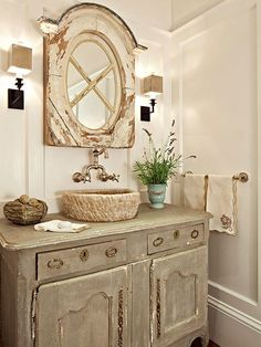 Best rustic bathroom lighting ideas on inspiration of shabby chic girls beautiful by ligh . 4 impressive tricks can change your life shabby chic bathroom Rustic Chic Bathrooms, Rustic Bathroom Lighting, Farmhouse Bathrooms, Baños Shabby Chic, Rustic Stone, Bathroom Inspiration, Bathroom Ideas, Bathroom Mirrors, Wall Mirrors