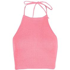 Boohoo Katie Knitted Halterneck Tie Back Top ($7) ❤ liked on Polyvore featuring tops, shirts, boohoo, crop tops, halter-neck crop tops, pink sequin top, halter crop top, wrap crop top and pink halter top