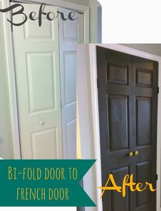 Say goodbye to pinched fingers and constantly putting your bi-fold door back on it's track. Turn your bi-fold into french doors! Via 2 Little Supeheroes