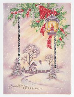 1124 best vintage christmas greeting cards three images on pinterest vintage greeting card christmas purple landscape house snow candle lantern 1940s m4hsunfo