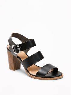 a7679712fe6b8 Three-Strap Block-Heel Sandals for Women