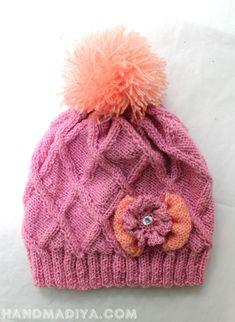 Knitting needles Cap for girls. Шапочка для девочки. Bobble Hats, Hand Knitting, Winter Hats, Cap, Orange, Crochet, Pink, Inspiration, Fashion