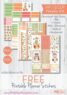 Free Printable Cute Critter Friends Planner Stickers - Print and Cut | Pink Pixel Graphics