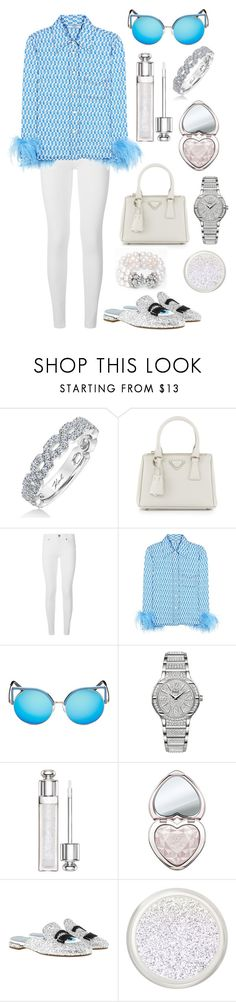 """""""Feather Prada look"""" by theodor44444 ❤ liked on Polyvore featuring Karl Lagerfeld, Prada, Burberry, Matthew Williamson, Piaget, Christian Dior, Too Faced Cosmetics and Chiara Ferragni"""