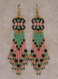 Seed Bead Earrings  Beadwoven  Peach/Green by pattimacs on Etsy, $20.00