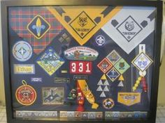 Cub Scout Shadow Box - I like the neckerchiefs along the top in this one! Perfectly adaptable to Girl Scouts levels and/or anniversary stuff! Cub Scout Crafts, Cub Scout Activities, Cub Scouts Bear, Girl Scouts, Tiger Scouts, Eagle Scout Ceremony, Arrow Of Lights, Award Display, Scout Mom