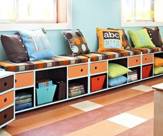 kids playroom window seat with storage shelves... This is a good idea for extra storage and seating in any room.