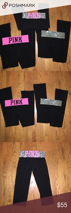 "[3] pairs VS PINK yoga pants 3 pairs of VS PINK yoga pants. 2 bling 1 regular "" PINK"" logo. All in great condition. Pink zebra pants are capris other 2 pairs are full length pants. Lime green leopard design pants are size XS but fit like a small. Other two are size small tts. Bundle & Save  PINK Victoria's Secret Pants Leggings"