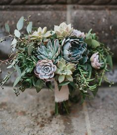 A succulent and concrete styled wedding - perfect for the urban couple, not fond of florals. #wedding #weddings #events #succulents #concrete #urban #bouquet #succulentbouquet
