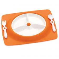 Mate Stay Put Mat & Plate Orange by Skip Hop at Gilt Baby Doll Strollers, Divided Plates, Baby Must Haves, Utensil Set, Plates And Bowls, Cute Baby Clothes, Baby Feeding, Little Babies, Industrial Design