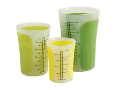 Chef'n SleekStor Pinch + Pour Nesting Beakers via realsimple: Made of silicone, squeeze with one hand for a perfect pour spout. Dishwasher and microwave safe and heat resistant to 650F. Comes in 1,2, and 4 cups with clearly marked measurements. $29.95 #Measuring_Cups  #Beakers #Chef_n_Cooks #realsimple