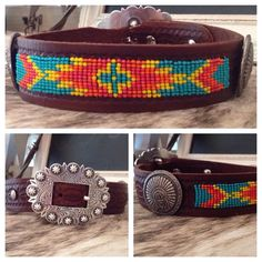 Custom beaded pattern with bead colors of your choice are sewn into quality leather to create some stunning bling for your pooch. Loom Beading, Beading Patterns, Beaded Dog Collar, Leather Tooling Patterns, Custom Dog Collars, Pet Accessories, Necklaces, Bracelets, Experiment