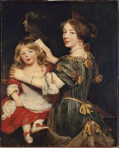 La Fille aînée de l'artiste peignant son frère, vers 1672, par Claude Lefebvre (1632-1675)