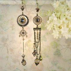 Designer Jewelry - Statement Earrings - Beaded Gemstone Jewelry - Bohemian Jewelry - Brown Earrings - Mystique Asymmetrical (Taupe Version). $85.00, via Etsy.
