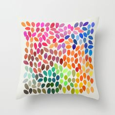 Rain Multicolor Throw Pillow by Garima Dhawan | Society6 - I could totally paint a design like this onto some fabric myself.