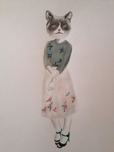 Cat in clothes - acrylic & pencil illustration - anthropomorphism | mut and whiskers