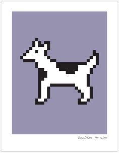 spotted dog on lavender - 17x22