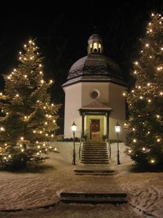 """Silent Night Memorial Chapel...the village church in Oberndorf, Austria where """"Silent Night"""" was first performed on Christmas Eve 1818 was torn down due to flood damage in the early 1900's.  This chapel was built on the site.  Every Christmas Eve a service is held here, and """"Silent Night"""" is performed as it originally was, accompanied by guitar.  It is first sung in the original German, then everyone in attendance joins in the singing in their own language."""