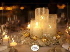 Glowing candles with delicious treats Ferrero Rocher, Dining Room Table Centerpieces, Table Decorations, Deco Table, Thanksgiving Decorations, Christmas Time, Greenery, Glow, Wreaths
