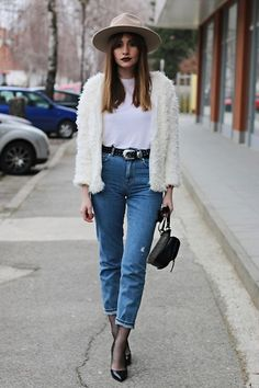 More looks by Marina Abramovic: http://lb.nu/abramovicm  #chic #classic #street #mumjeans #fauxfur #chunkyjacket #white #denim #lackofcolor