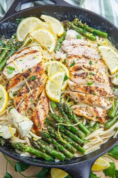 This Creamy Lemon Grilled Chicken, Asparagus and Artichoke Pasta is a complete meal in one pan.