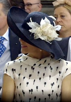 Crown Princess Mary, wearing cream & black hat by Susanne Juul, May 27, 2016 | Royal Hats