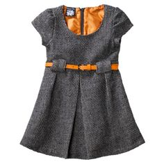 Infant Toddler Girls' Short-Sleeve Boucle Dress with Belt - Grey - Target