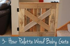 Palette Wood Baby & Pet Gate We love the character that this gate adds to our house. Plus, it's functional and only took 3 hours to make from FREE palette wood!