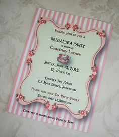 The Tea Party Bridal Shower Invitation Wording creates impact. Know enticing ways to play with words to have a well-like invitation card.