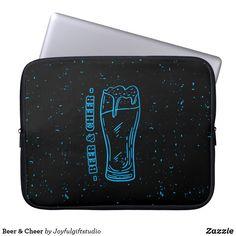 Shop Beer & Cheer Laptop Sleeve created by Joyfulgiftstudio. Computer Sleeve, Custom Laptop, Laptop Sleeves, Cheer, Fun, Black, Humor, Black People, Cheerleading