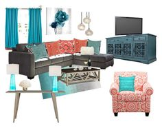 """""""Coral and Turquoise"""" by modern-glam-designs on Polyvore featuring interior, interiors, interior design, home, home decor, interior decorating, Alphason, Jofran, Universal Lighting and Decor and Mina Victory"""