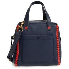8b40e2e94c4d Women s Tory Burch Mini Whipstitch Leather Satchel ( 495) ❤ liked on  Polyvore featuring bags