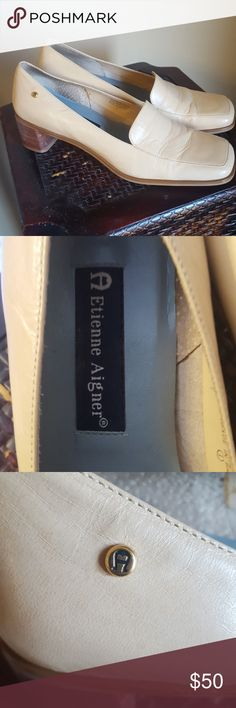 "Vintage Aigner nude leather loafers euc Very gently worn. Size 8. 2"" heal Etienne Aigner Shoes Flats & Loafers"