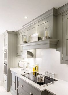 Luxury Kitchens Nice soft gray, simple hood solution for a low ceiling. - This shaker style kitchen diner design is the perfect entertaining space for all the family and features the latest cutting-edge Miele appliances. Kitchen Design, Kitchen Inspirations, Kitchen Renovation, Kitchen Decor, New Kitchen, Kitchen Interior, Kitchen Layout, Kitchen Appliances Luxury, Trendy Kitchen