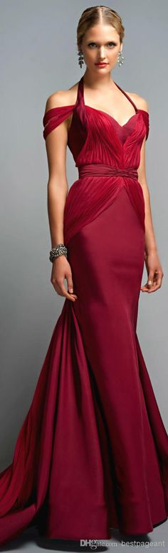 $140 Wholesale Burgundy Evening Gown - Buy 2014 Zac Posen Classic Off Shoulder Red Mermaid Prom Dress Halter Sweep Train Pleats Corset Stain Formal Evening Dress Sweetheart Party Gown, $104.32 | DHgate