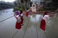 The next time your car driver is late to drop you at school, think of these children who risk their lives at least twice every day by crossing the river going and coming back from school. Kim Kardashian, Children, Kids, At Least, Education, School, Pictures, Photography, Politics