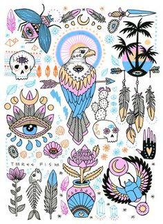 Art and illustration by Rachel Urquhart Art And Illustration, Illustrations, Flash Art, Widder Tattoos, Sweet Magic, Doodles, Skin Art, Art Inspo, Art Reference