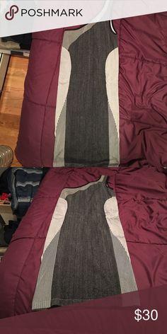 Gray patterned one shoulder Bebe dress Gray patterned one shoulder Bebe dress. Worn once. Stretch material bebe Dresses Mini