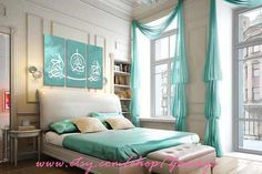 Teal and white painting 3 panels with Arabic calligraphy by Zawaya
