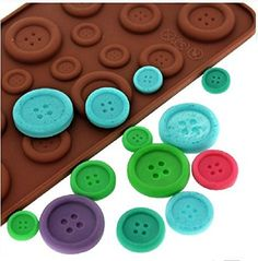 Efivs Arts Fastener Shape Candy Buttons Ice Cake Chocolate Sugar Craft Fondant Moldtray Silicone Decorating Tools * Continue to the product at the image link. (This is an affiliate link) Fondant Molds, Cake Mold, Fondant Cookies, Bolo Diy, Chocolate Buttons, Cake Chocolate, Chocolate Treats, Silicone Chocolate Molds, Candy Making Supplies