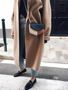 Camel coat + loafers.