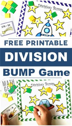 Are your kids struggling with long division? Make practice fun with this FREE set of printable division games! Includes and divisors. Easy Math Games, Printable Math Games, Math Card Games, Free Math Worksheets, Educational Activities For Kids, Fun Math, Math Resources, Free Printables, Division Games