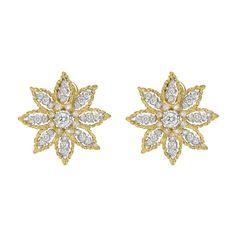 Buccellati 18k Gold & Diamond Star Earrings